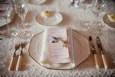 romantic place setting with lavender
