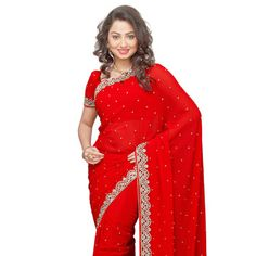 #Red Faux #GeorgetteSaree with Blouse