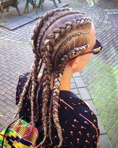 How freakin trendy is this! Not sure I could pull it off myself though :( Cool Dutch Braid Cornrows How freakin trendy is this! Not sure I could pull it off myself though :( Cool Dutch Braid Cornrows New Braided Hairstyles, Box Braids Hairstyles, Braided Updo, Fishtail Plaits, 1920s Hairstyles, Wedding Hairstyles, Protective Hairstyles, Trendy Hairstyles, Hairstyles For Summer