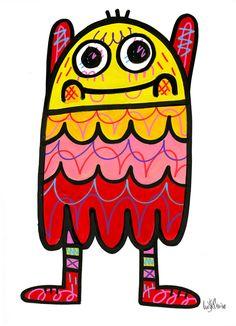 Illustrator: Jon Burgerman Project: New Characters Date: March 2015 Graffiti Doodles, Graffiti Cartoons, Character Illustration, Digital Illustration, Mini Monster, Monster Characters, Creature Drawings, Doodle Art, Doodle Ideas