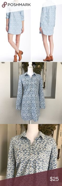 Lucky Brand Ikat Chambray Shirt Dress Lucky Brand Ikat Chambray Shirt Dress - Size medium. Excellent condition. Lucky Brand Dresses Midi