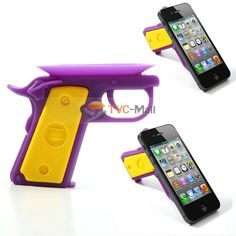 Candies Cool Gun Shape Silicone Sucker Stand Holder for iPhone 4S 5 Samsung i9500 i9300 HTC One M7 Sony Xperia Z C6603 L36h - Yellow / Purple
