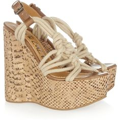 Lanvin Rope and snake-print cork wedge sandals ($330) ❤ liked on Polyvore featuring shoes, sandals, wedges, heels, zapatos, light brown, strap heel sandals, platform shoes, strappy heel sandals and platform wedge shoes