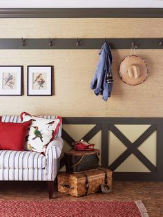 Like the 'wainscot' look at the bottom of this room, but would do it with weathered pallet wood...would look great in gray...