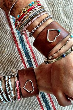 BFF Bracelets Best Friends Leather Cuff Bracelets by ThreeBirdNest, $98.00