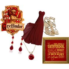 Yule Ball: Gryffindor by magick13 on Polyvore featuring polyvore, fashion, style, Paul Andrew, Everlasting Gold and Børn