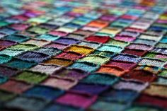 COULD BE SMALL BLANKIE - Insanity Blanket. This is an absolutely gorgeous way to use up bits of sock yarn! The finished blanket looks like something Kaffe Fassett would be pleased with. Yarn Projects, Knitting Projects, Crochet Projects, Knitted Afghans, Knitted Blankets, Crochet Motifs, Knit Crochet, Knitting Yarn, Hand Knitting