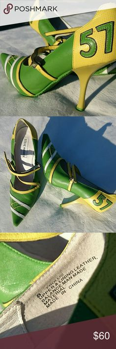 """SALE! Steve Madden Leather Green #57 Sporty Heels Super unique! Steve Madden """"Frollic"""" Leather Green & Yellow Pointy Toe Sporty Heels! #57 on side in back. Velcro strap to hold in place. EXCELLENT CONDITION! WORN ONLY ONCE OR TWICE! Small """"scuff"""" on inside of one of the heels(see 5th pic-unnoticeable while wearing) & one tiny """"scuff"""" on tip of one of the toes(see 6th pic)  *Reasonable* offers considered 10% discount when bundled with another item! Steve Madden Shoes Heels"""