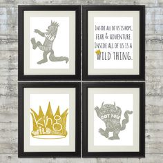 Gray and Gold 8x10 set of 4 Where The Wild by PrintsAndPrintables
