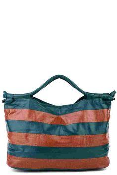Stripy Faux Leather Shopper Bag (FD50068)£15.99