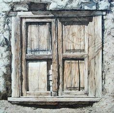 ventana antigua pintada al oleo