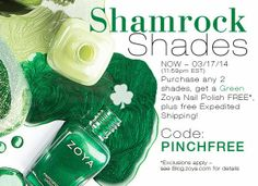 Zoya Nail Polish, Zoya Nail Care Treatments and Zoya Hot Lips Lip Gloss: St. Patrick's Day Nail Polish - Get ANY Green Shade FREE!