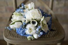The Hampton's Bride. Blue and white bridal bouquet by Native Flower Company.
