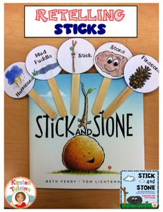 Stick and Stone - By Beth Ferry - This sweet new book about an unlikely friendship between Stick and Stone is perfect for any primary classroom. Pinecone also provides an opportunity to have a meaningful discussion about bullying. These retelling sticks Preschool Friendship, Friendship Theme, Friendship Activities, Friendship Crafts, Friendship Lessons, Story Retell, Library Lessons, Library Ideas, School Counseling