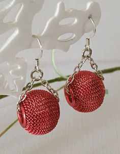 Earrings-Red Wire Mesh Wide Hole Beads on Silver Chain-Short Drop Dangle-Under Two Inches-Large Mesh Red Bead-Ball and Chain Earrings-Her