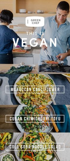 2018? More like Twenty-Eight-Green! This is the year to go vegan. Cook delicious, plant-based meals crafted by Green Chef. We deliver fresh ingredients and easy recipes right to you. Sign up today for $40 OFF. Vegan Foods, Vegan Dishes, Chef Dishes, Vegetarian Recipes, Healthy Recipes, Easy Recipes, Vegetarian Cooking, Delicious Recipes, Healthy Desayunos