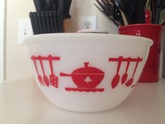 A personal favorite from my Etsy shop https://www.etsy.com/listing/386304560/hazel-atlas-red-7-kitchen-aids-utensils