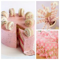 It's a Pink & Gold birthday! I know my daughter and nieces would love this theme and especially this cake. What a genius idea - a simple cake topped with delicious macaroons. The party decorations are perfect too - imagine these on a lolly & soda bar!! #kidscakes #girlscakes