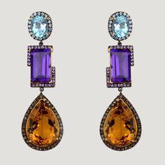 Vermeil Drop Earrings With Blue Topaz, Amethyst, Citrine, White & Smokey Topaz  £680 (81703)