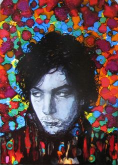 "ARTFINDER: Psychedelic Syd by raffaella bertolini - As part of my ""Icons"" series, another homage to  Syd Barrett, founder of the legendary band Pink Floyd. Alcohol Inks, Indian black Ink on Yupo paper"