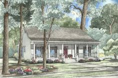 Country Style House Plan - 3 Beds 2 Baths 1381 Sq/Ft Plan #17-1051 Exterior - Front Elevation - Houseplans.com