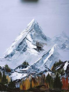 Landscape Illustration, Landscape Art, Landscape Paintings, Mountain Paintings, Nature Paintings, Winter Painting, Muse Art, Aesthetic Painting, Mountain Art