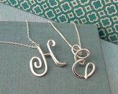 Small Calligraphy Initial Necklace in sterling silver