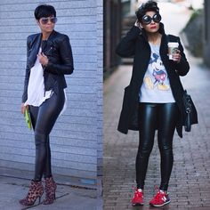 Possible looks for faux leggings Dress them up or causal which is your favorite look with leather leggings? Cual es tu look favorito? Black Women Fashion, Look Fashion, Autumn Fashion, Womens Fashion, Mode Outfits, Chic Outfits, Fashion Outfits, Fashion Trends, Girlie Style