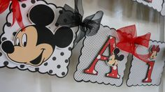 Mickey  or Minnie Mouse Birthday  Banner with by ASweetCelebration