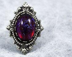 Gothic Fantasy Ring Vitrail Light Swarovski by NocturneHandcrafts