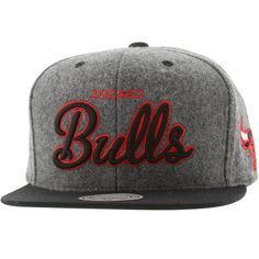 0bec6477561 Mitchell and Ness Chicago Bulls Melton Script Snapback Cap (grey   black)