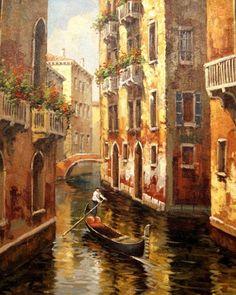 Google+ Watercolor Landscape, Landscape Art, Landscape Paintings, Venice Painting, Italy Painting, Watercolor Wallpaper, Watercolor Paintings, Venice City, Art Carte