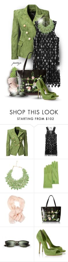 """""""Green Suede Shoes"""" by rockreborn ❤ liked on Polyvore featuring Balmain, Marc Jacobs, TWIST'N'SCOUT, Forzieri, KI6? Who Are You?, Ted Baker, Ray-Ban and Casadei"""