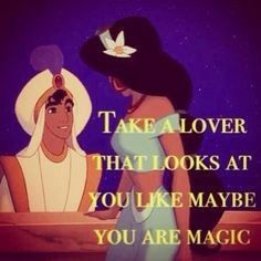 Aladdin had just taken Jasmine on her first carpet ride and this is when she is realizing that she is falling in love with Aladdin. Aladdin already knew he was in love in Jasmine but this was the moment that he realized she was the only one for him. Disney Princess Jasmine, Aladdin And Jasmine, Princess Jasmine Quotes, Pink Jasmine, Disney Magic, Walt Disney, Disney Art, Funny Princess, Funny One Liners