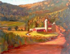 Farm In Fall original oil on canvas 14 x 18 by JessicaMDalrymple, $30.00