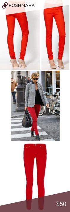 """30% OFF BUNDLES rag & bone red skinny jeans 25 what's better than a pair or rag & bone skinny jeans? A pair of rag & bone red skinny jeans, of course! These will make heads turn! ❤ Waist:28"""" Inseam:29.5"""" All measurements are taken with the item laid flat. Fit: Skinny low-rise Material: See photos Color: Red 30% off on bundles // I ship same-day from pet/smoke-free home. Buy with confidence. I am a top seller with close to 500 5-star ratings and A LOT of love notes. Check them out! 😊😎 rag…"""