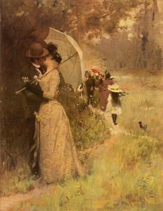More - When a parasol is used for privacy😉. with ・・・ A Kiss Under the Parasol by Czech painter Luděk Alois Marold, In private co Art And Illustration, Victorian Paintings, Victorian Art, Romantic Paintings, Beautiful Paintings, Art Ancien, Art Of Love, Inspiration Art, Parasol