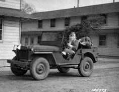 WWII Christmas: Santa trades his sleigh for a Jeep