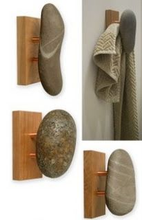 Sea-Stones - Natural Stone Wall Hook for Towel, Coat, and Spa.a little more rustic if you use pallet wood Woodworking Shop, Woodworking Projects, Woodworking Workshop, Woodworking Techniques, Popular Woodworking, Woodworking Videos, Woodworking Plans, Natural Stone Wall, Natural Stones