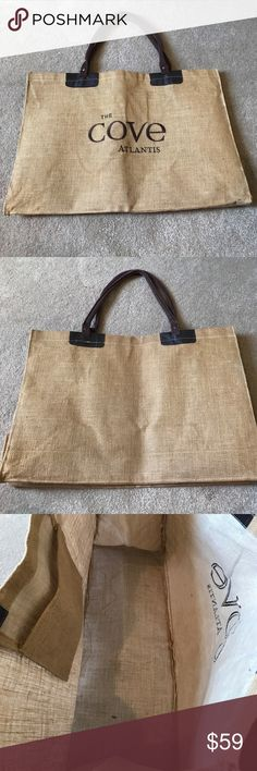 The cove Atlantis Bahamas beach tote bag burlap The cove Atlantis Bahamas beach tote bag burlap in good condition some signs of wear sold as is atlantis Bags Totes
