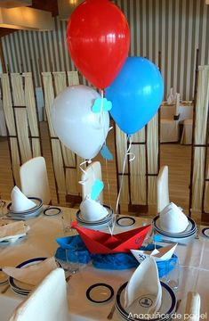 sailboats in cute paper (navy with white polka dots or white and navy stripes) to tie navy white and silver balloons to Nautical Mickey, Nautical Party, Nautical Birthday Cakes, Boy First Birthday, Baby Shower Balloons, Baby Sprinkle, Baby Party, Birthday Decorations, Baby Boy Shower