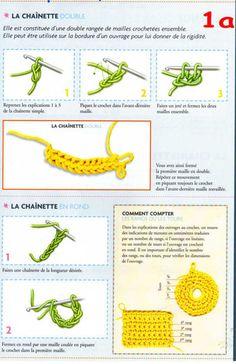 Blog de korie :Paradie du crochet, 2.Chainette double et chainette en rond