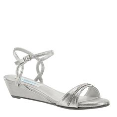 Mallory is the perfect silver wedge sandal...and it's comfy too! #WeddingShoeInspirations