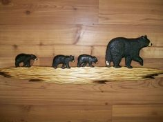 MOTHER BLACK BEAR & 3 CUBS Walking Wall Art Chainsaw Wood Carving Cabin Carved