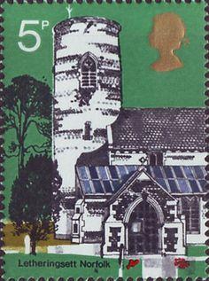Village Chruches 5p Stamp (1972) St Andrew's Letheringsett, Norfolk