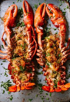 Baked Stuffed Lobster with Shrimp makes a big statement for a special celebration. This lobster with herbs, buttery bread crumbs & shrimp won't disappoint. Lobster Dishes, Fish Dishes, Lobster Food, Lobster Bake, Fish Recipes, Seafood Recipes, Cooking Recipes, Baked Lobster Recipes, Vegetarian Recipes