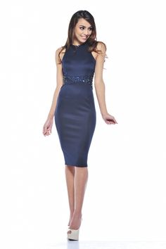 Navy Fitted Midi Dress with Embellished Waist~ Bridal girls????!?!