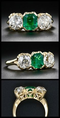 https://www.bkgjewelry.com/sapphire-ring/468-18k-yellow-gold-diamond-blue-sapphire-ring.html Antique-style three stone emerald and diamond ring at Lang Antiques.