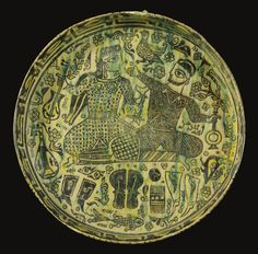 A Large Nishapur Plate Depicting Two Seated Figures, Eastern Persia, 10th century - Sothebys