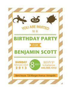 Reptile Birthday Party Invitation Reptiles Party Invitations